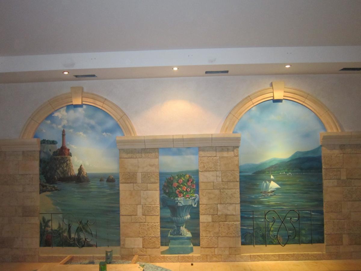 вариант росписи на стене в бассейне